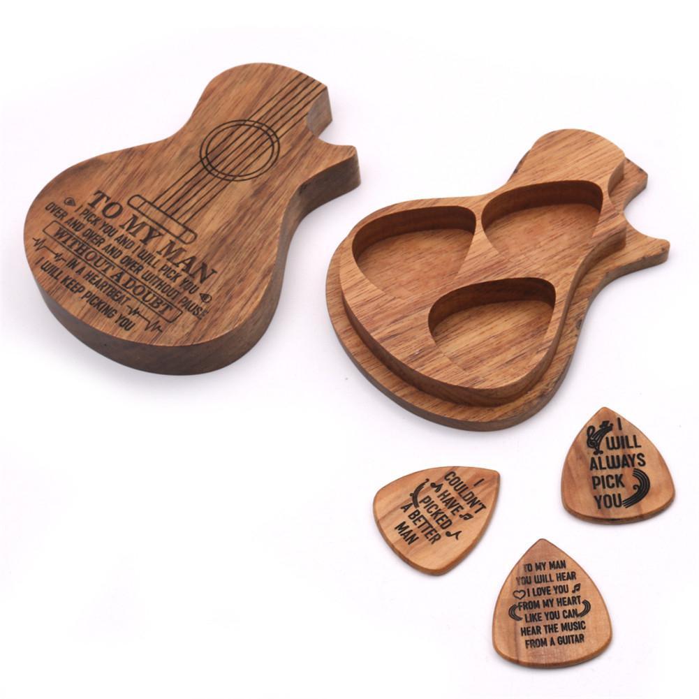 Juego de púas de guitarra de madera, caja de púas de guitarra, delicadas púas de guitarra, accesorios de guitarra eléctrica acústica, instrumento Musical
