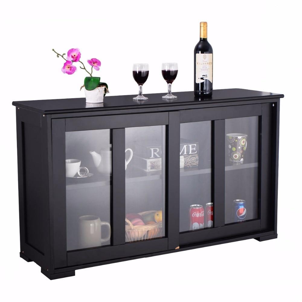 Armario de almacenamiento para el hogar, aparador bufé, armario, puerta corredera de vidrio, estante, despensa, mueble de cocina de madera, mueble HW53867