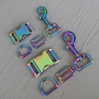 100 sets 2025mm colourful metal slider d ring release belt buckle for pet dog collar paracord sewing accessory strong hardware