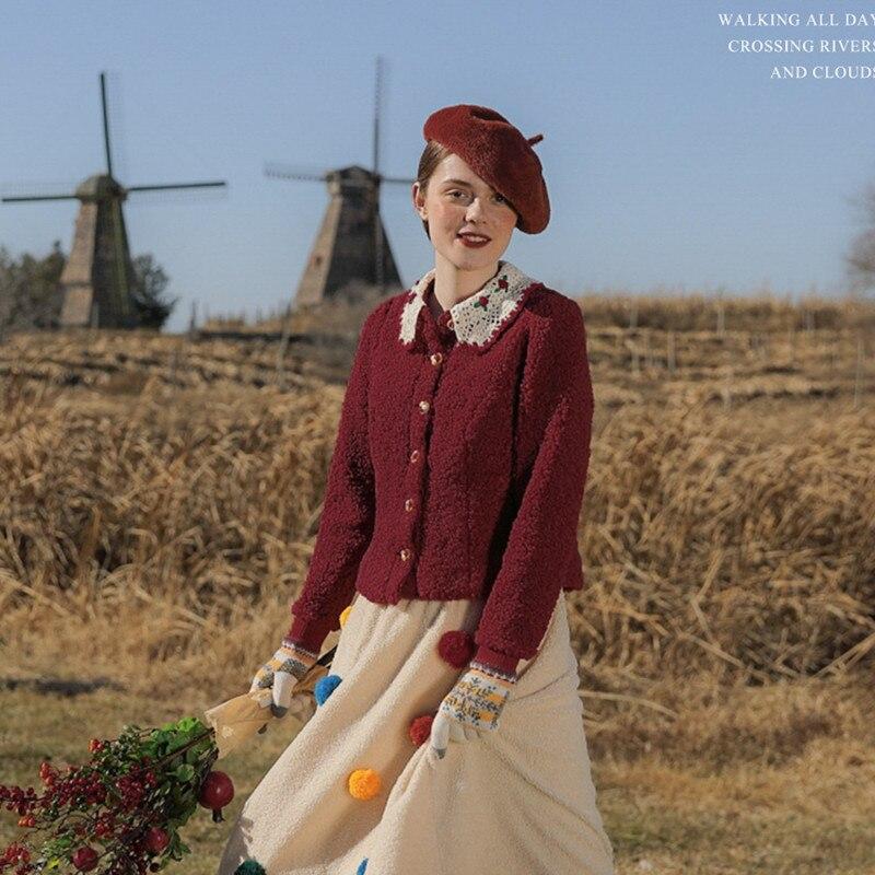 الأصلي AIGYPTOS الخريف الشتاء خمر موري الفتيات اليدوية زهرة الكروشيه طوق التطريز ضئيلة قصيرة من الصوف جاكيتات