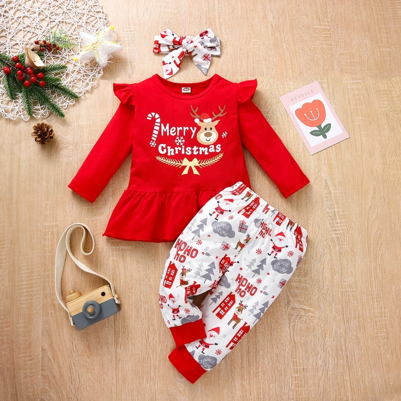 Newborn Baby Girl Clothes Sets My First Christmas Deer Print T-shirt+Pants+Headband Girls Outfits Xmas Set Infant Baby Clothing недорого