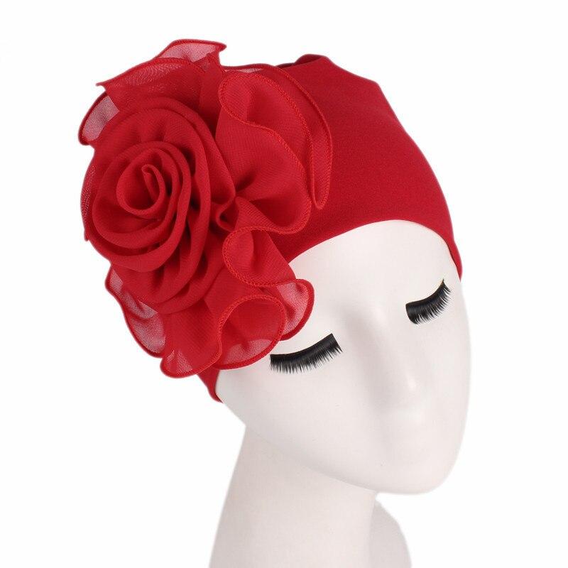 Helisopus 2020 nuevo sombrero grande de la bufanda del estiramiento de la flor de las mujeres elegantes accesorios de moda del pelo de las señoras quimio sombrero pañuelos de turbante