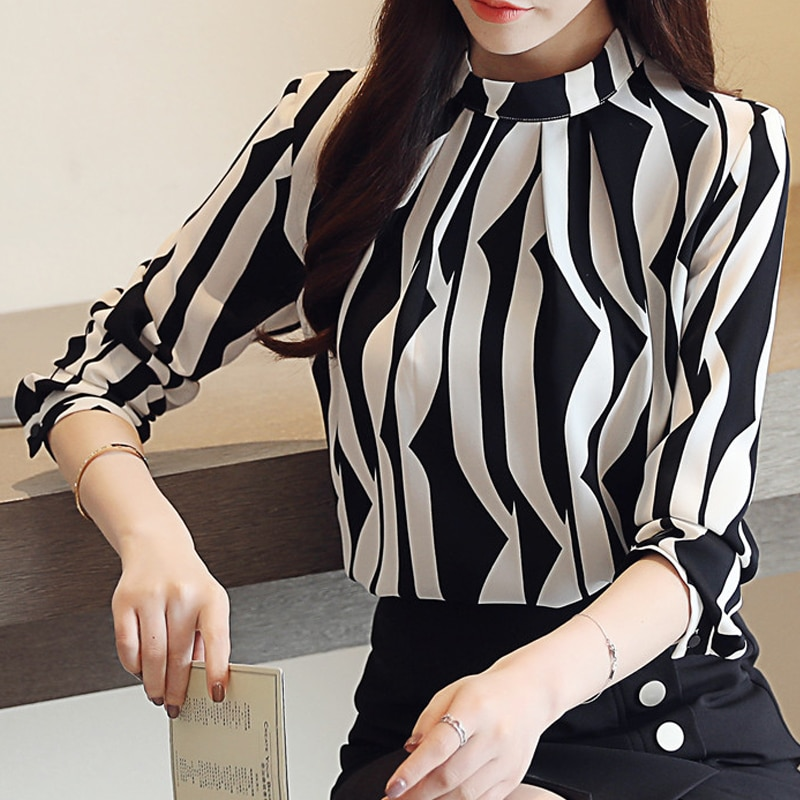 Stand Collar Chiffon Blouse New Black 2021 Printed Women Long Sleeved Blouses ShirtsLoose Office Blusa Top