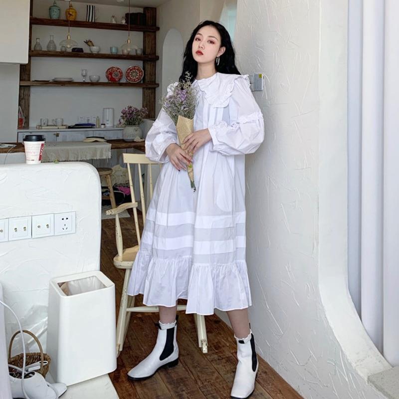 Lanmrem francês clássico peter pan colarinho nicho branco vestidos para as mulheres 2020 vintage novo solto retalhos plissado hem vestido yj662