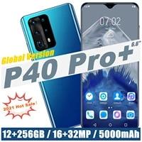 global version celulars p40 pro 6 6 12gb 512gb 1632mp camera mobilephone fingerprint id 5000mah android 10 0 smartphone