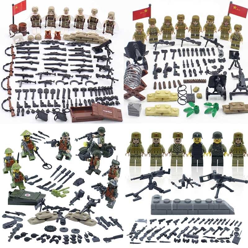 Ww2 exército mini soldados militares figuras armas acessórios pequenos blocos de construção ww2 soldados figuras arma peças tijolos crianças brinquedo
