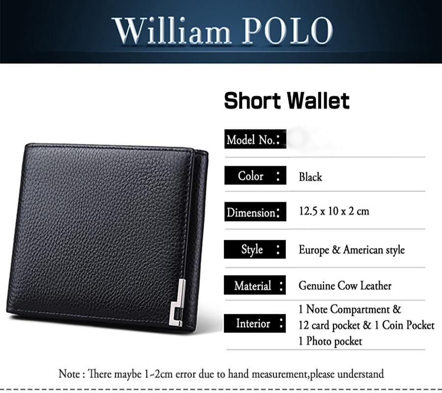 Купить с кэшбэком WILLIAMPOLO Trifold Wallet Foldable Short Men's Wallet Genuine Leather Purse Black Brown Coin Pocket Card Holder Fashion 3 Folds