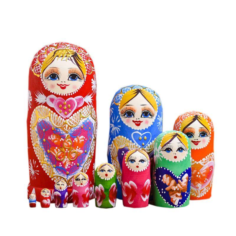Деревянная Матрёшка, 10 слоев/набор, русская куколка, рождественские подарки для детей