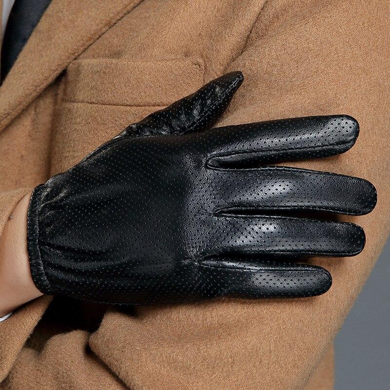 Перчатки из натуральной кожи, мужские кожаные перчатки для сенсорного экрана, Короткие стильные мужские тонкие шелковистые перчатки из овч...