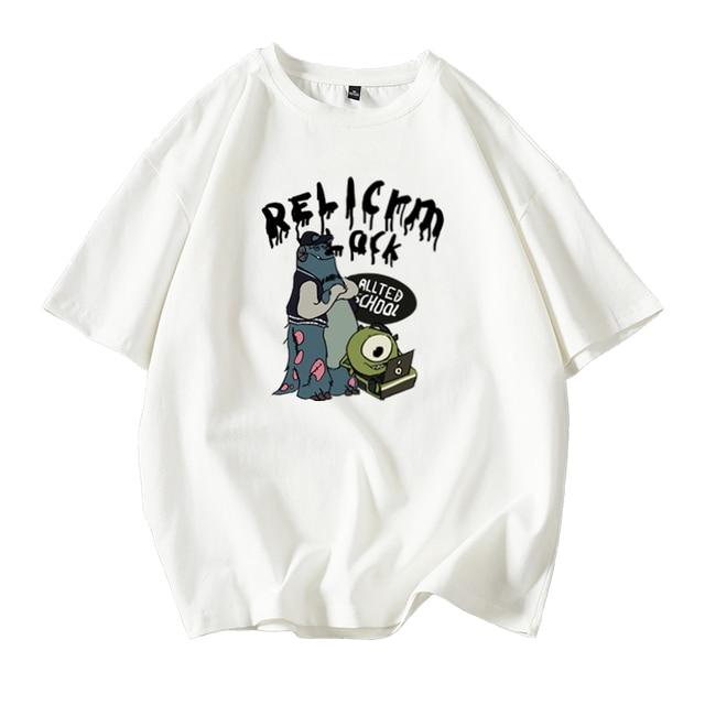 oversized T-shirt Women Casual 100% Cotton Short Sleeve Unisex O-Neck Tshirt Fashion Fun Print Harajuku Plus Size punk clothes 8