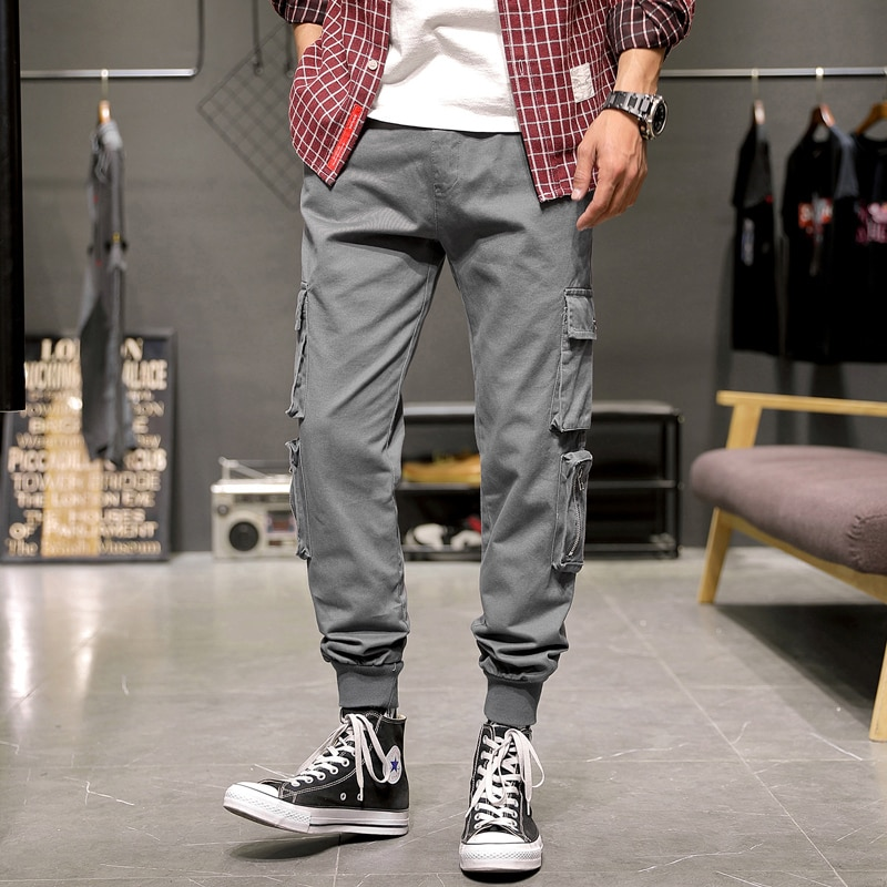 2021 New Cargo Pants Men Harem Pants Casual Multi-Pockets Trousers Mens Sweatpants Streetwear Casual