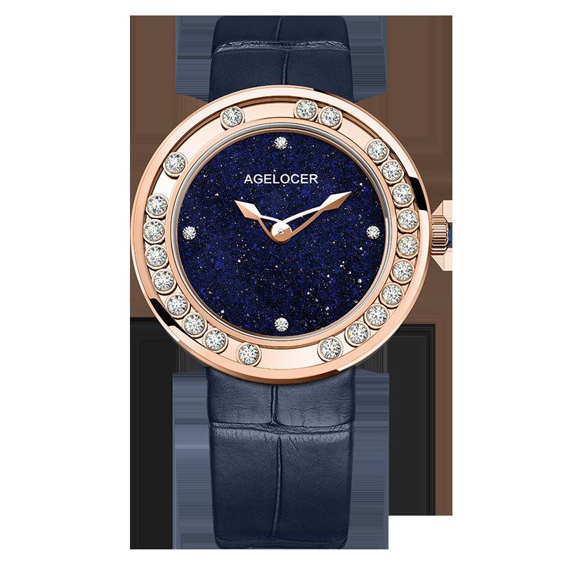 AGELOCER-ساعة نسائية من الياقوت ، ساعة يد جلدية سويسرية ، مرصعة بالألماس ، ذهبية أو زرقاء ، مقاومة للماء