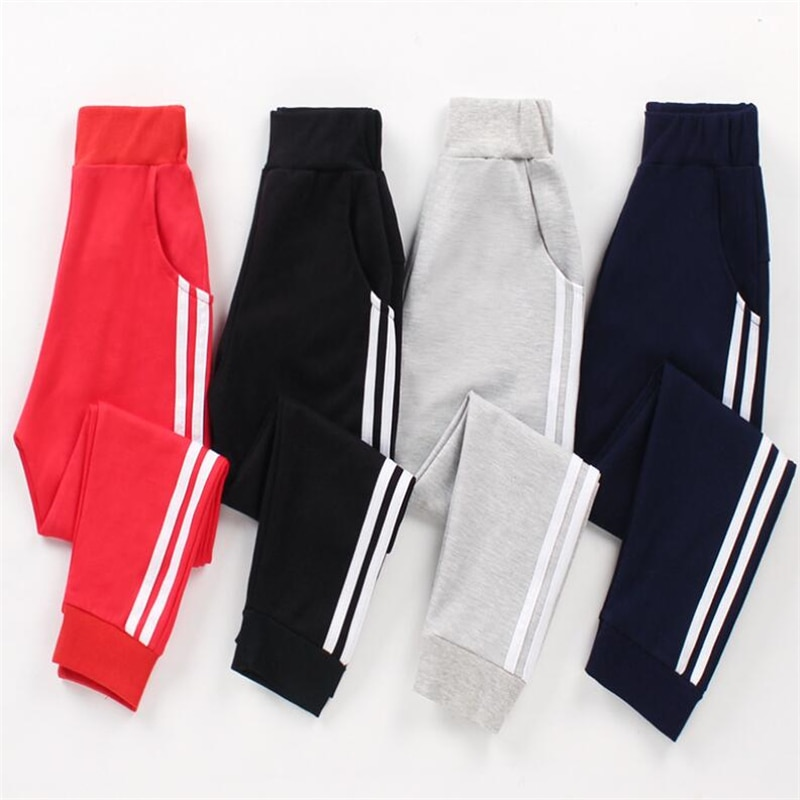 Moda niños pantalones otoño raya de bolsillo Bebé Pantalones niños Pantalones deportivos algodón niños ropa