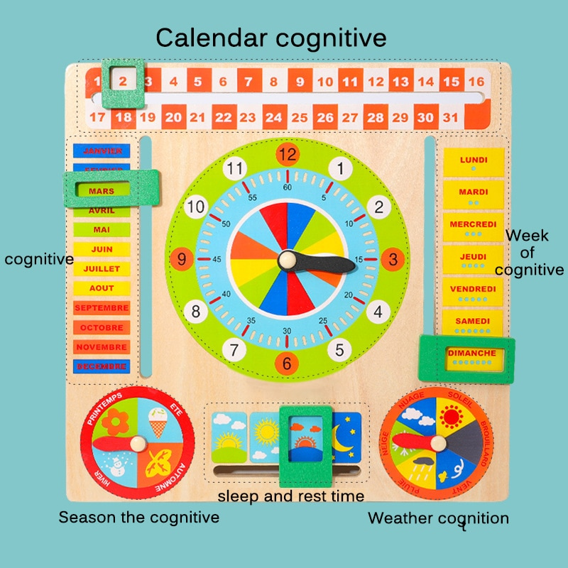 Baby Wooden Calendar Toys Montessori Weather Season Time Cognitive Puzzles Children Early Learning Figures Toys Children Gift