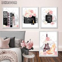 Mode Art affiche rose fleur parfum Paris tour livre toile impression mur peinture Salon de beauté fille chambre décoration photo