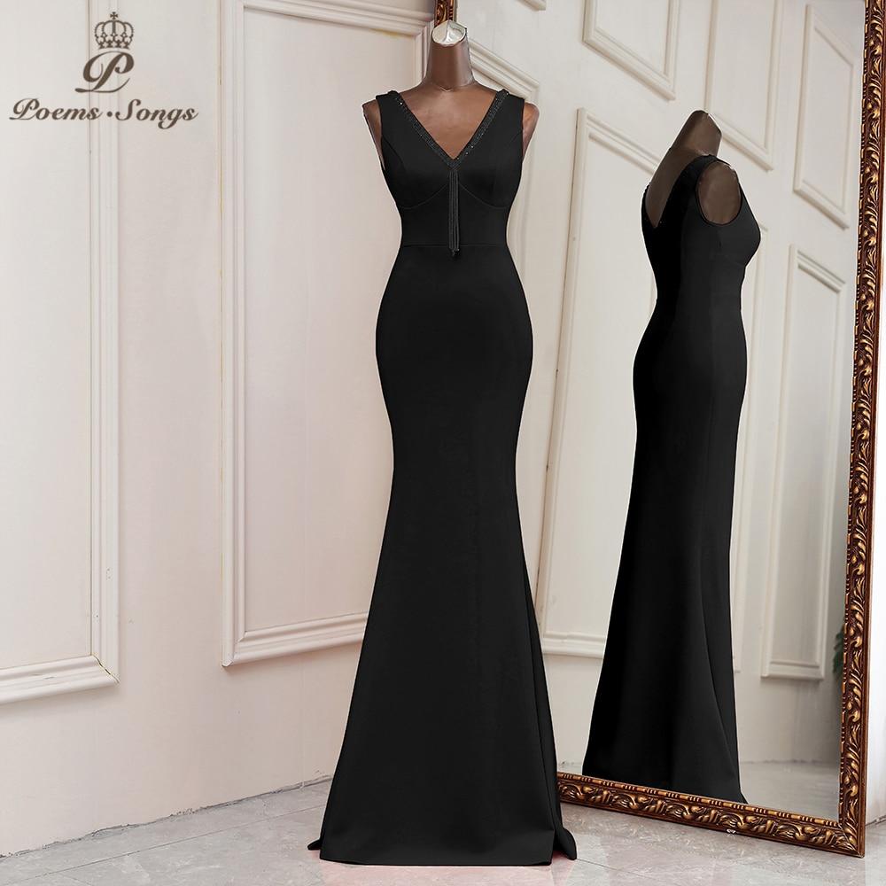 فستان سهرة أنيق على شكل حورية البحر ، أسود ، لوصيفات العروس ، فستان التخرج