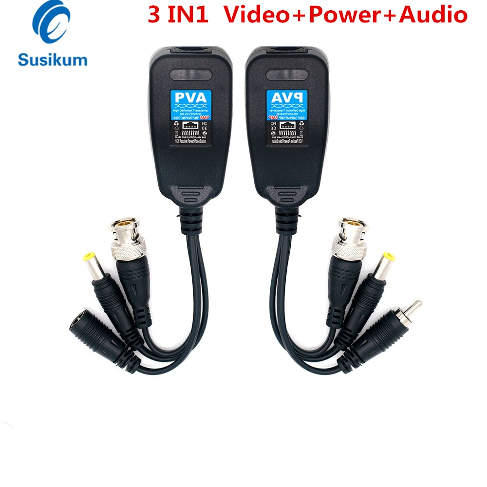 10 Pairs 8MP Video Balun Audio Power BNC to RJ45 Connector HD-CVI/TVI/AHD Transceiver For CCTV Surveillance Camera System enlarge