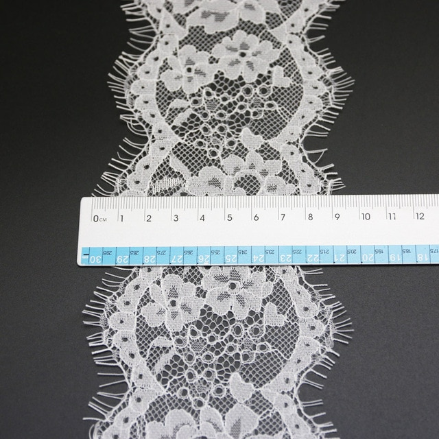 (3 meters/lot) 8cm White lace fabric Sewing Garment Ribbon Wedding Dress Fabric 2