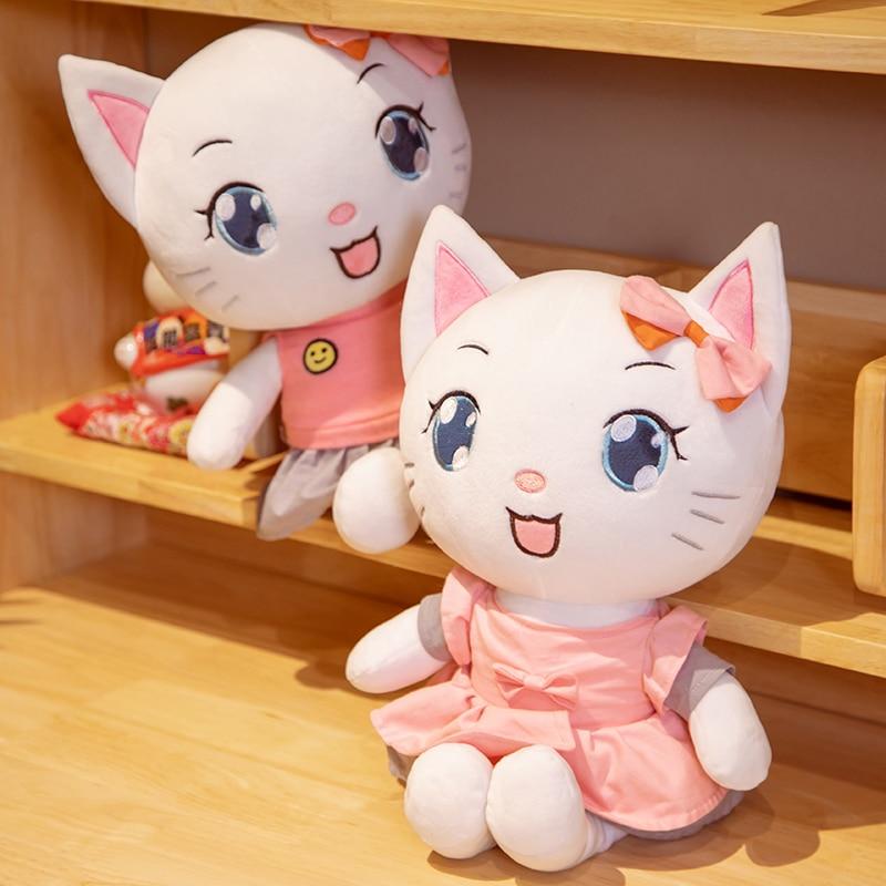 Симпатичная кошка, плюшевые игрушки, кавайная плюшевая Набивная игрушка, кошка, подушка, куклы, украшение для комнаты, игрушки для девочек и ...