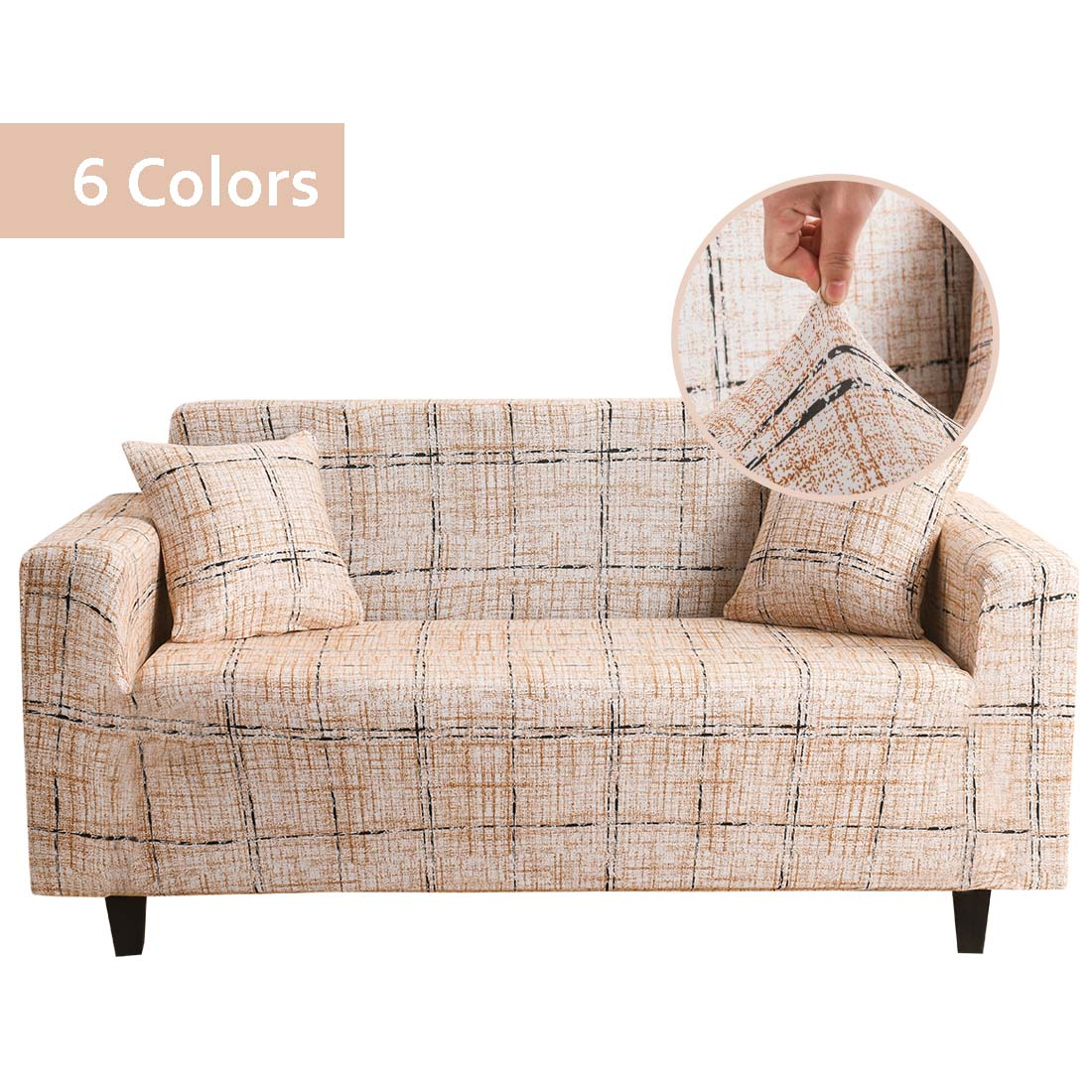 1 2pcs elastic sofa covers for living room l shape sectional slipcovers strench armchair couch covers 1 2 3 4 seater funda cover Plaid Sofa Covers for Living Room Elastic Couch Covers for Sofas Sectional Slipcovers L Shape Sofa Cover Protector 1/2/3/4 Seat