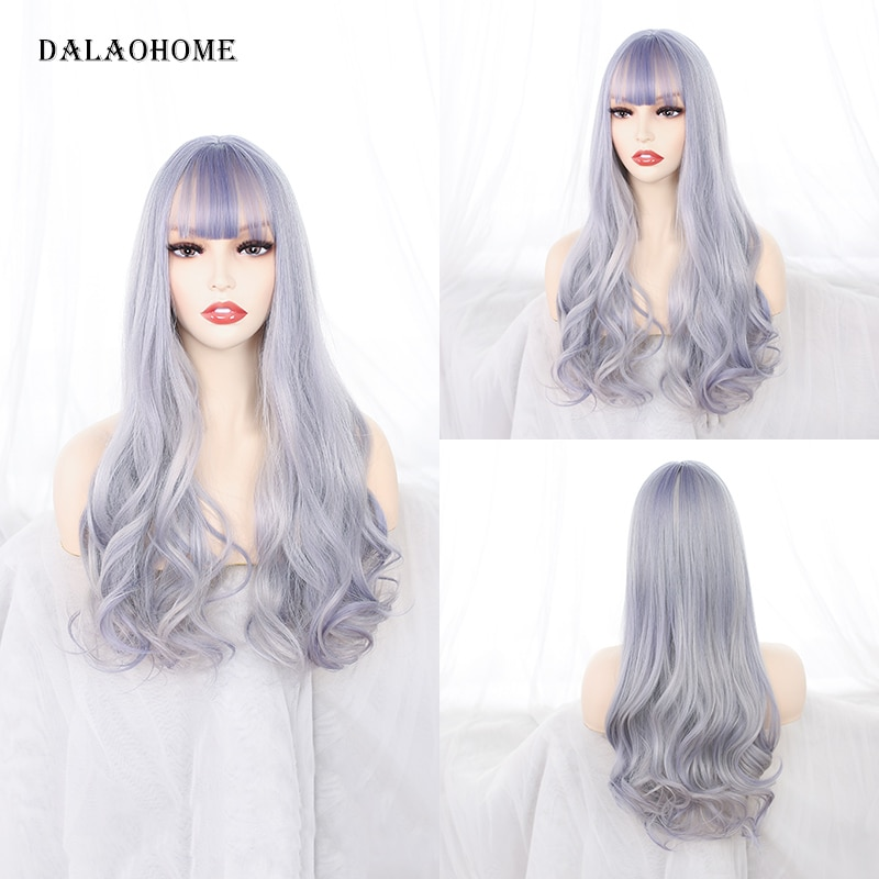 Dalaohome Synthetic Ombre Wavy Harajuku Long Wig With Bangs Natural Lolita Woman Wigs Hairstyle Heat Resistant Fiber Daily Hairs