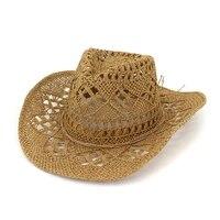 fashion hollowed handmade cowboy straw hat women men summer outdoor travel beach hats unisex solid western sunshade cap cp0192