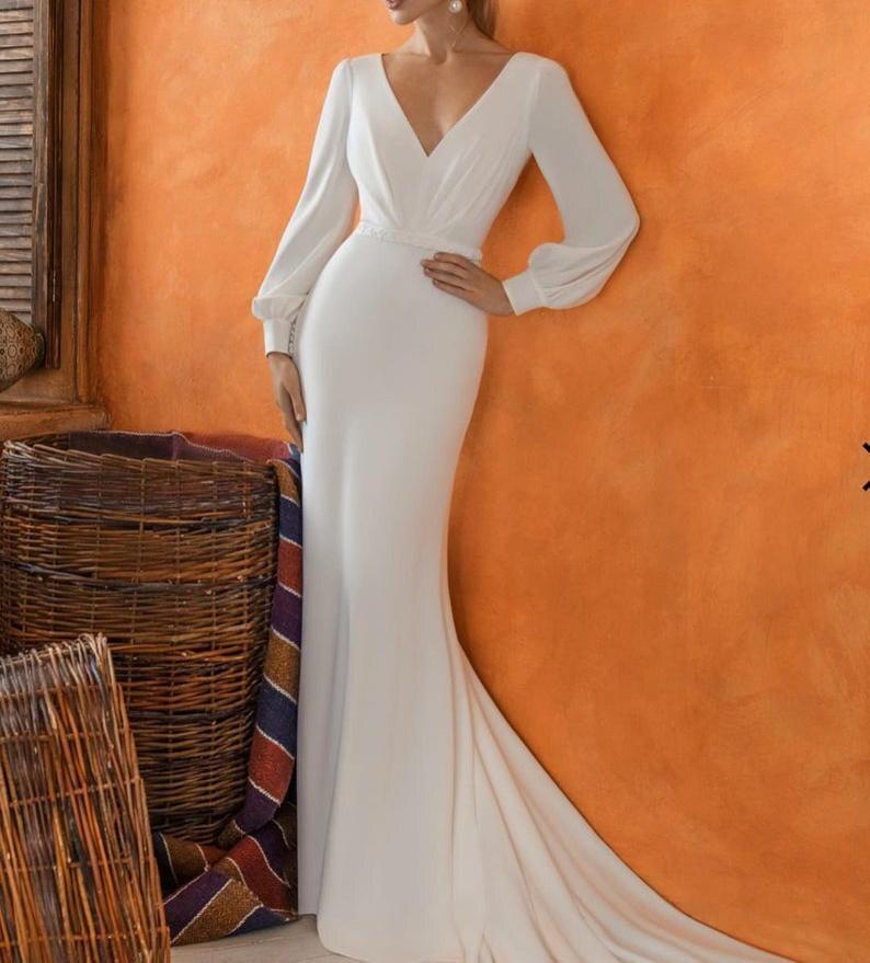 Get Simple V Neck Mermaid Wedding Gowns Bohemian Illusion Bodice See Through Back Long Sleeves Sweep Train Beach Bridal Dress