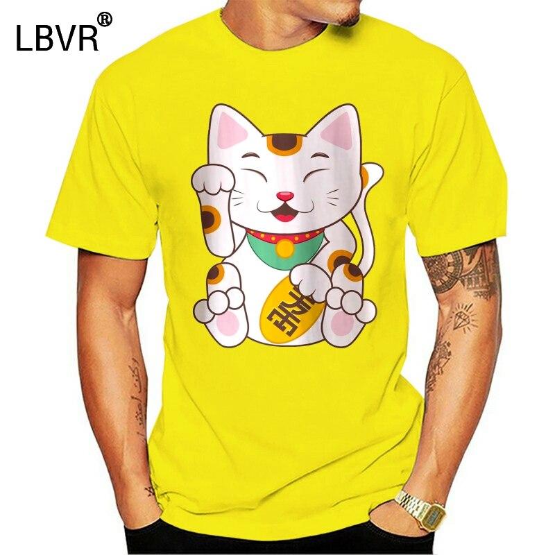 Camiseta divertida del gato de la suerte japonés Maneki Neko Right Paw 100% algodón unisex para mujeres camiseta de dibujos animados hombres Unisex nueva camiseta de moda