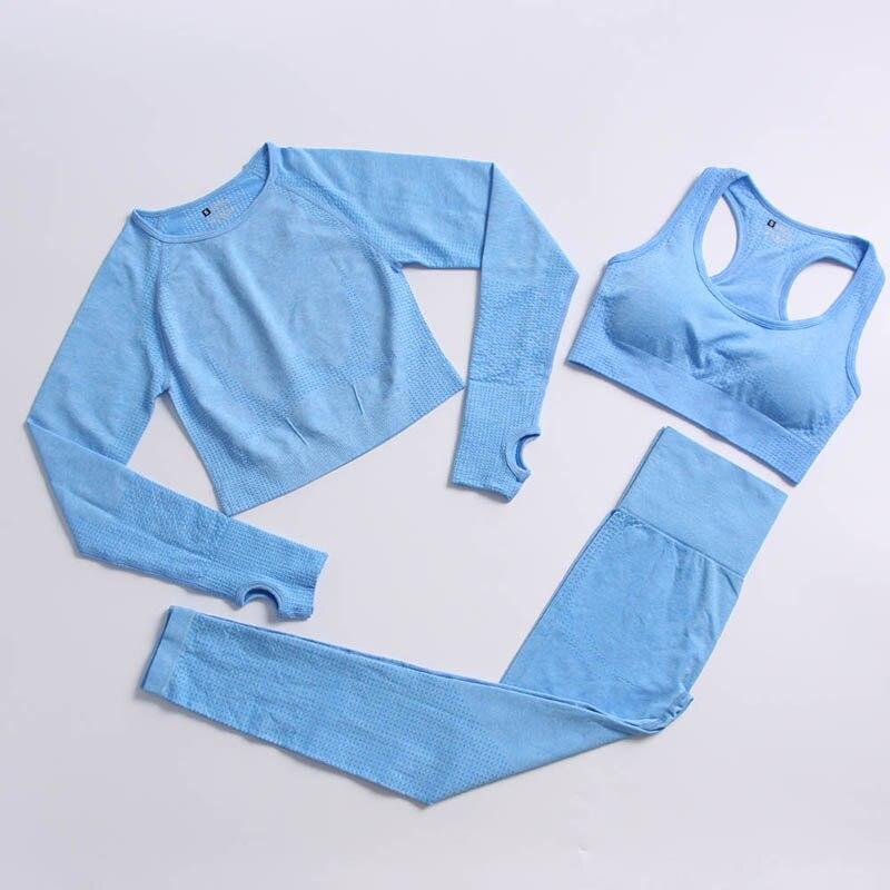 3 Piece Sets Seamless Yoga Suit Women's Fitness Sportswear High Waist Fast Dry Running Long Sleeve Top Workout Leggings Set