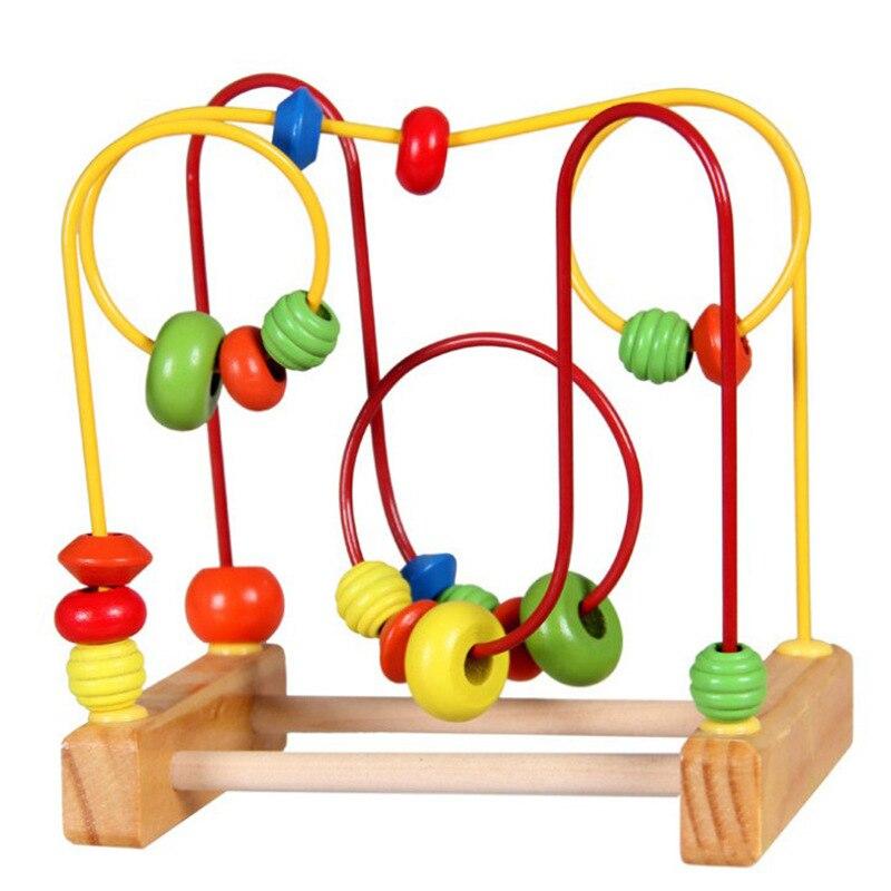 Brinquedos de madeira grânulos de madeira do bebê crianças pequeno frisado educação precoce blocos de construção
