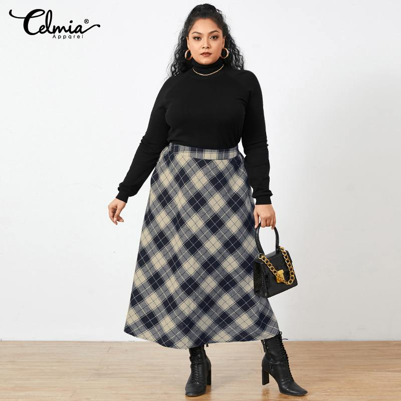 Plus Size Fashion 2021 Office Long Skirt Vintage Women Plaid Checked Maxi Skirts Autumn Celmia Pocket Casual Loose Party Skirt
