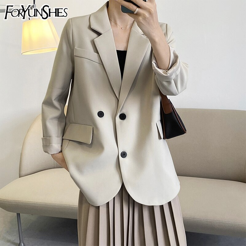 FORYUNSHES Suit Blazer Za Women Jackets Spring 2021 Vintage Oversize Long Sleeve Pockets Black  Coat Office Wear Female Blazers