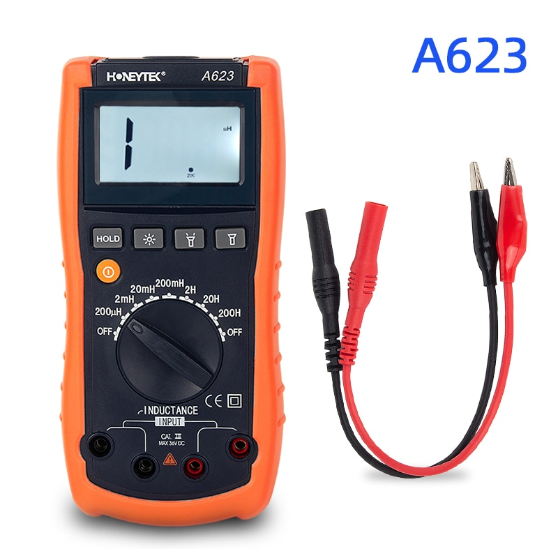 Digital multimeter lcr meter inductance meter Tester Set Of Probes Feelers For Tester 200μH-200H Inductances Data HOLD A623