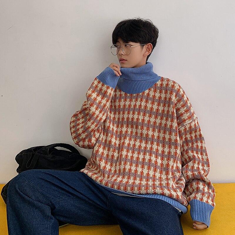 Invierno nuevo suéter grueso de cuello alto de los hombres de moda caliente Retro Casual Jersey de punto para hombre ropa de calle salvaje suéter de cuadros sueltos para hombre
