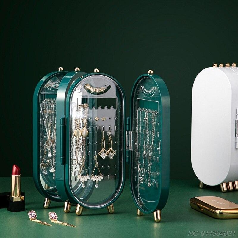 Пластиковая большая шкатулка для ювелирных изделий, органайзер с 4 веерами для хранения, чехол, ожерелье, серьги, кольцо, зеркальный дисплей,...
