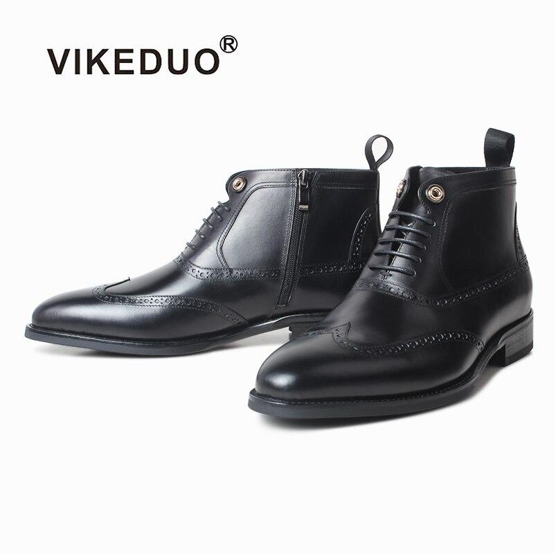 Vikeduo-حذاء رجالي من الجلد الطبيعي ، جزمة غربية ، جلد طبيعي ، صناعة يدوية ، تحديث عالمي
