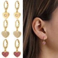 heart earrings for women gold love heart dangle earrings micro pave zircon cz copper paired earring trendy punk new fashion 2021