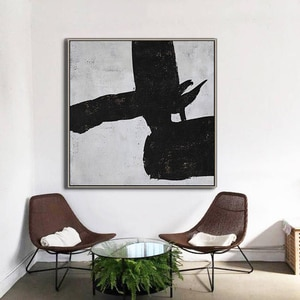 Large Painting On Canvas Hand Painted Minimalist Painting Canvas Art Black And White Wall Art Textured Painting Home Decor