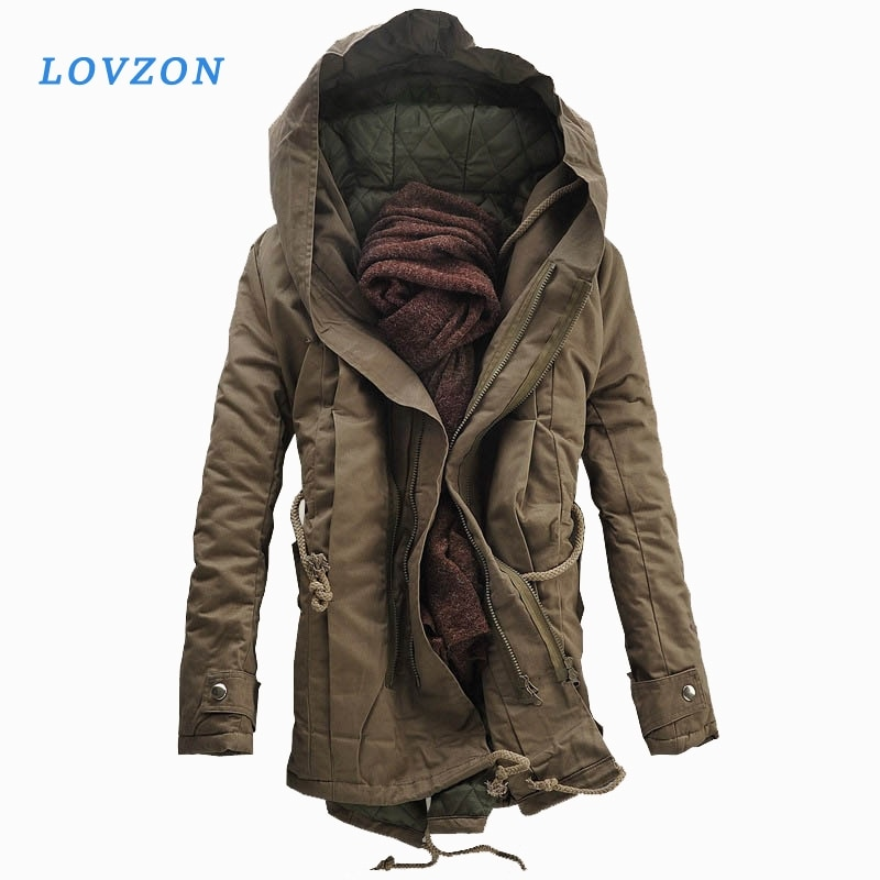 new mens winter cotton padded long coat black hooded parka thick warm casual plus size m xxxxxl u73 LOVZON New Men Padded Parka Cotton Coat Winter Hooded Jacket Mens Fashion large size Coat Thick Warm Parkas Black army green