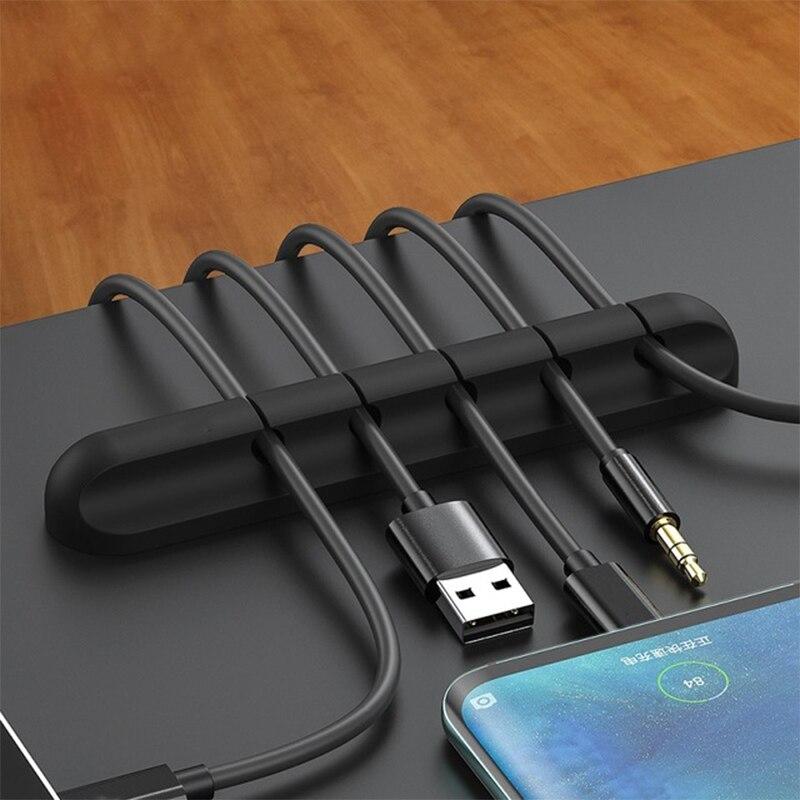Organizador de cables para la fijación del Cable de carga, soporte de abrazadera Flexible de escritorio para la fijación del Cable de carga