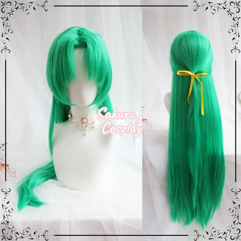 Anime Higurashi No Naku Koro Ni Sonozaki Shion Cosplay Green Long Straight Synthetic Hair Halloween