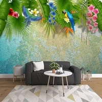 custom photo wall paper mural 3d nordic green leaf parrot flowers birds living room sofa tv background wall decoration painting