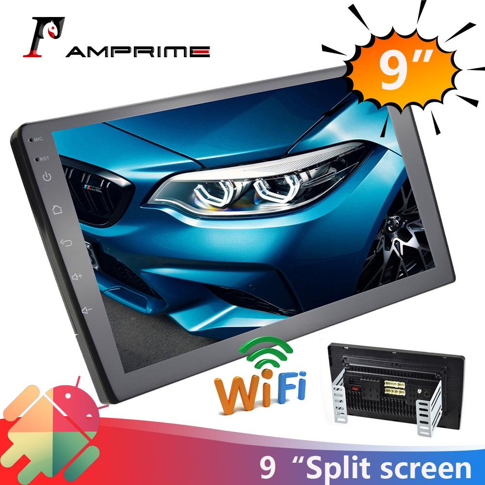 AMPrime 2 din 9 אינץ רכב רדיו פיצול מסך רכב מולטימדיה MP5 נגן עבור ניסן קאיה הונדה GPS WIfi אודיו סטריאו וידאו מצלמה