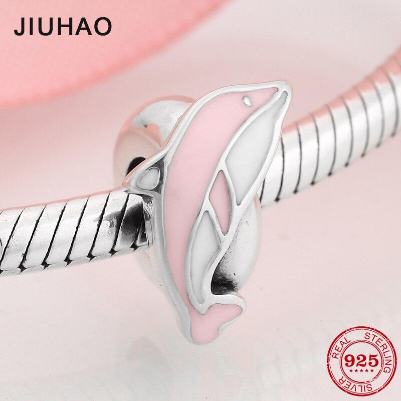 Bijoux européens originaux 925 en argent Sterling Bracelet à breloques, joli animal rose, à la mode