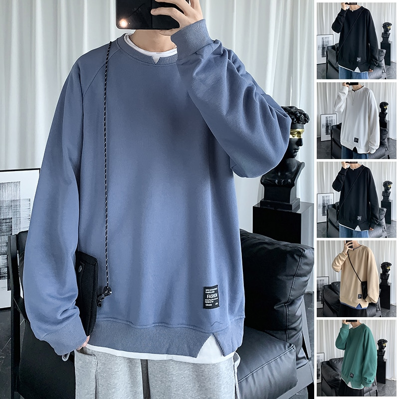 2021New Autumn Essentials Sweatshirts Men's High-quality Trendy Hoodie Solid Colors Brand Japanese S