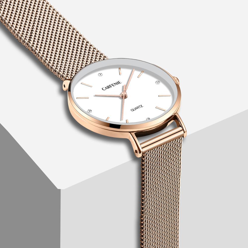 ساعات يد من CARFENIE بسيطة مصنوعة من الفولاذ المقاوم للصدأ باللون الذهبي الوردي للسيدات ساعة يد كوارتز من الجلد غير رسمية مناسبة كهدية للحبيبة