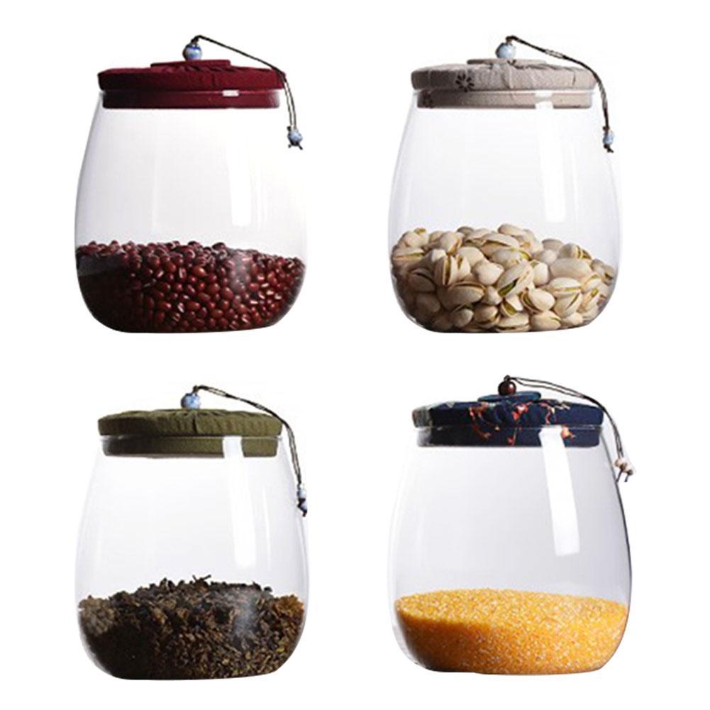 Latas de té de vidrio Puer, almacenamiento de té, tarros sellados con Tapa de tela, tarros de corcho transparente, suministros de almacenamiento para Cocina