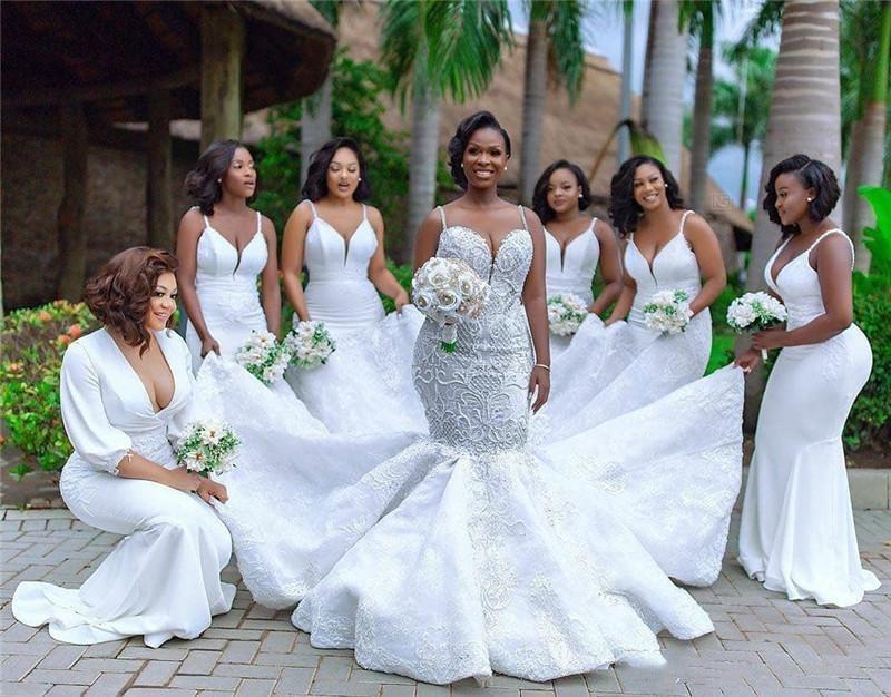 Mermaid Bridesmaid Dresses 2020 Nigerian Girls Long Maid of Honor Gowns Fow Women Cheap