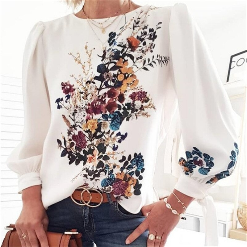 Frauen Floral Print Langarm Lose Pullover Bluse Chic Casual Frühling Herbst Mode Vintage frauen Bluse Hemd Weiß Tops