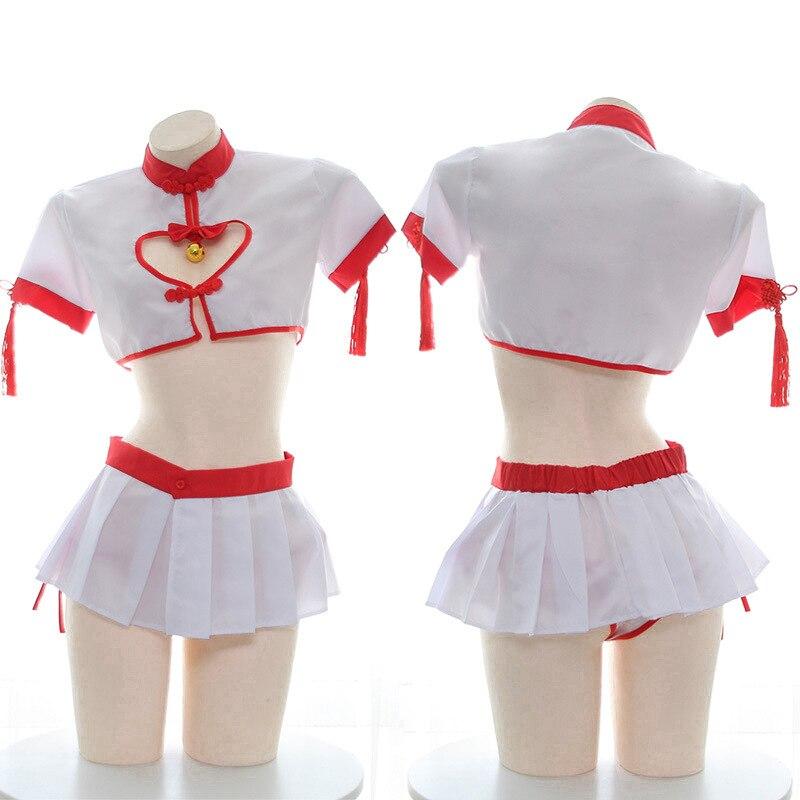 Sexy Cosplay japonés Lencería Cheongsam escuela sexo falda para estudiante uniforme disfraz Ultrashort corazón Hollot Out Top minifalda
